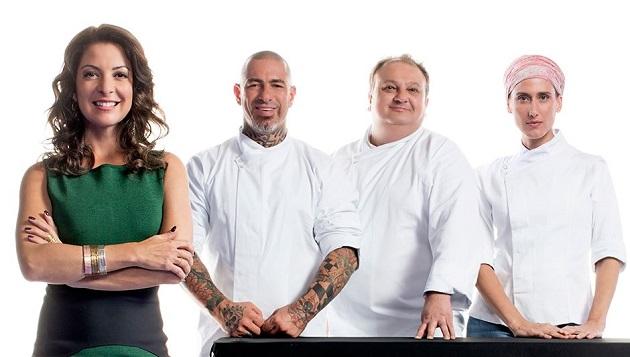 A apresentadora Ana Paula Padrão e os jurados Henrique Fogaça, Erick Jacquin e Paola Carosella. FOTO: Divulgação