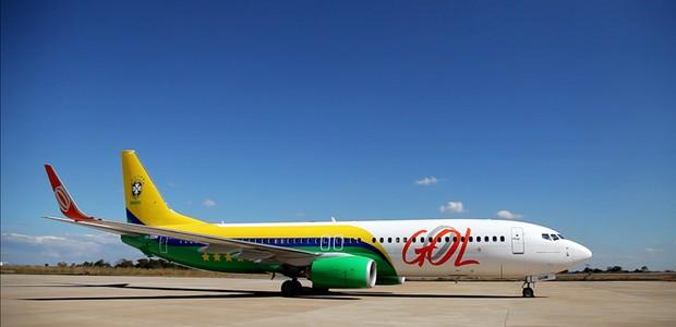 Avião oficial da seleção brasileira personalizado. Foto: Divulgação GOL