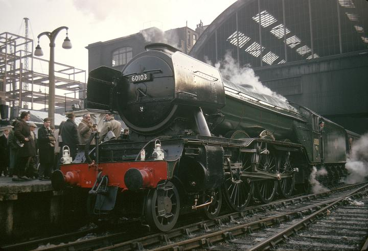 Flying Scotsman at King's Cross station, 1963, just before its last journey to Doncaster (Credit National Railway Museum)