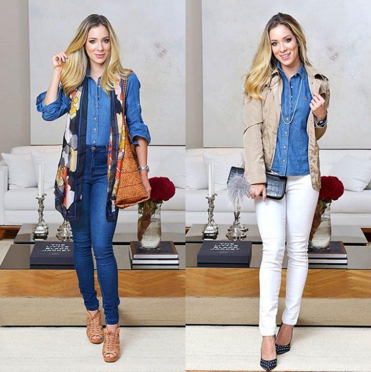 A top blogger Helena Lunardelli se rendeu ao charme despojado e atitude moderninha do #JeansDudalina parar compor dois looks cosmopolitas.