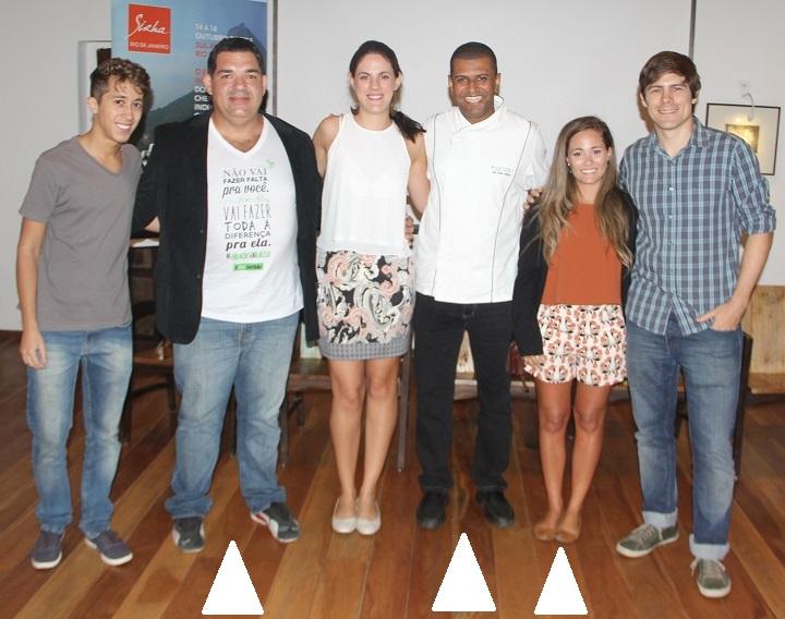 Bocuse D'Or - candidatos. A partir da esquerda: Camilo Portugal (RJ), Halles Willians (RJ) e Giovanna Grossi (AL)
