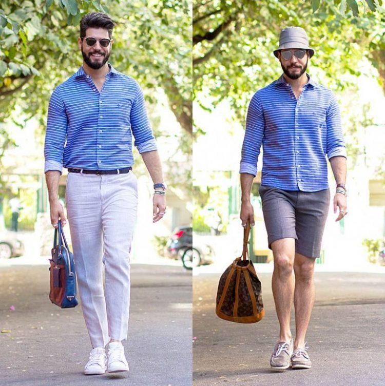 Kadu Dantas trouxe dois estilos para o desafio. A camisa listrada acompanha você nos compromissos mais sociais do cotidiano e pode ser também a opção ideal para o seu roteiro de fim de semana.