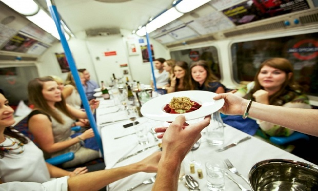 Luxury Dining Experience on a London Tube Carriage