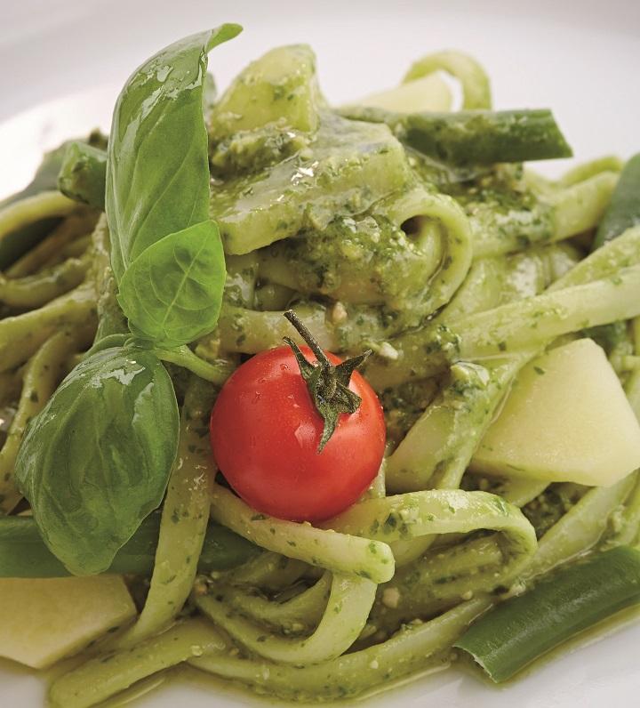 Master Series Cipriani. Linguini ao pesto, batata e vagem.