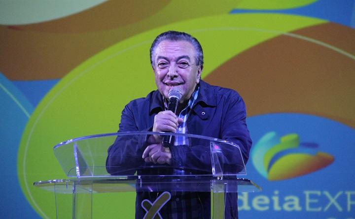 Mauricio de Sousa palestrando no Aldeia Expo. Foto: Eduardo Madeira