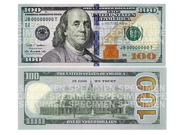 Nota de cem dólares (Foto Reprodução-Federal Reserve Bank)