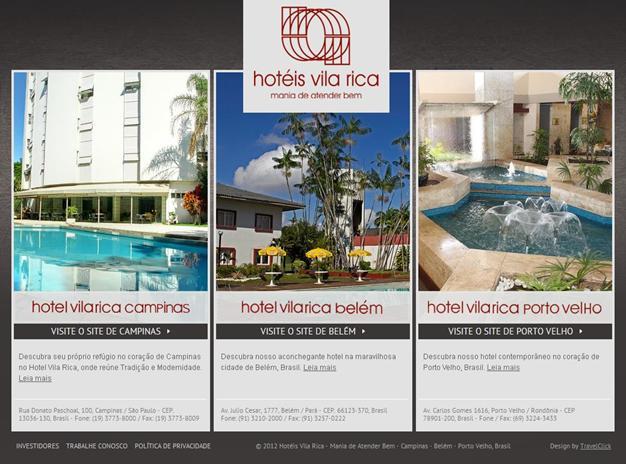 Novo site dos Hotéis Vila Rica