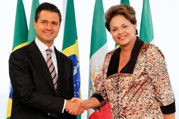 Presidenta Dilma Rousseff durante encontro com o Sr. Enrique Peña Nieto, Presidente eleito do México no Palácio do Planalto.