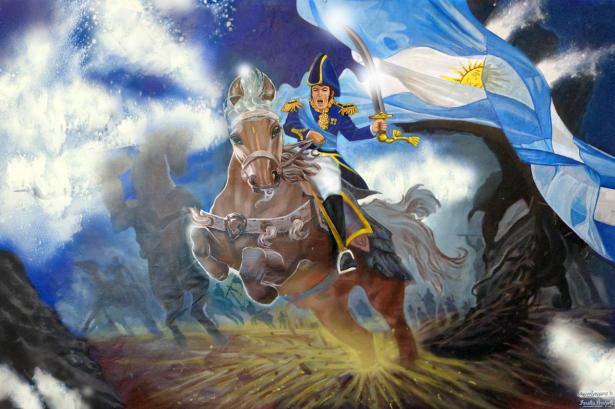 """Quadro """"El libertador, General José de San Martín"""" dos artistas Carlos Barrionuevo e Griselda Pernigotti"""