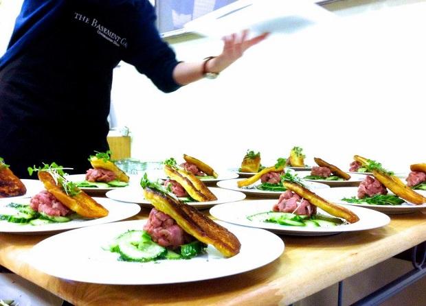South African Beef Filet Tartare, Sautéed Brioche, Cucumber & Cress Salad
