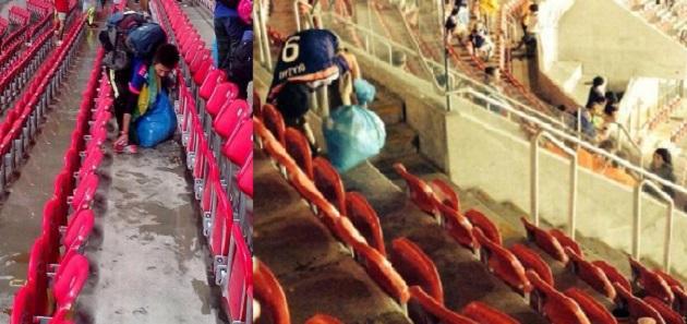 Torcida do Japão limpa a Arena Pernambuco
