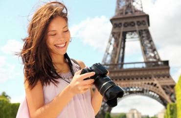 Paris turista câmera