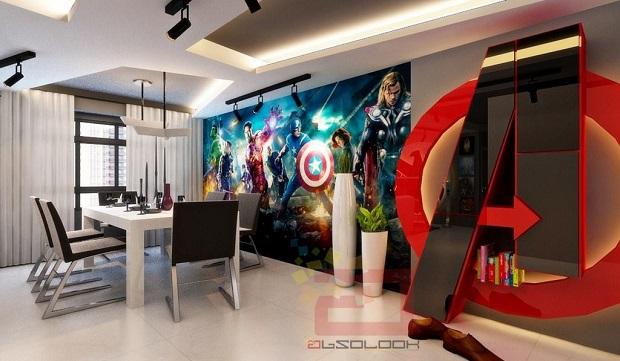 Papel De Parede Para Quarto Herois ~ sala de estar possui quadros com os Vingadores Homem de Ferro, Thor